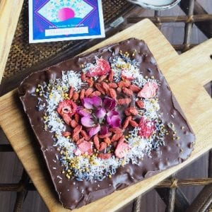 Low chocolate ganache with plenty of superfoods and nuts
